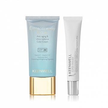 Extraordinary Eclat Anti-Aging & Ultra-Radiance Color Cream SPF 20 + Multitasking Primer Base (Keenwell) – набор из двух средств («ЕЕ» тональный крем «Молодость и сияние кожи» + Мультифукциональная основа-праймер под макияж в ПОДАРОК)